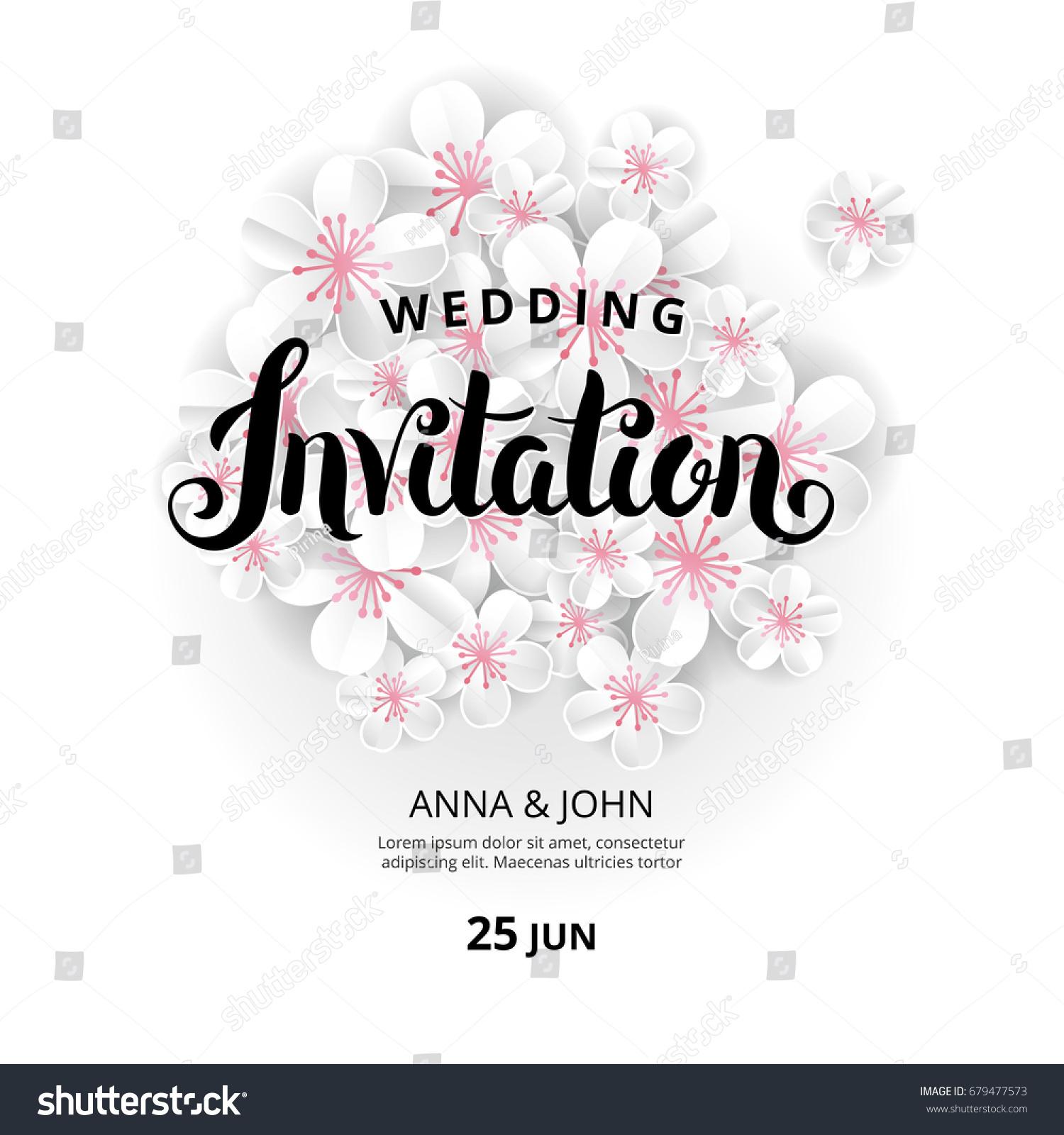 White Flowers Invitation Wedding Banner Paper Stock Vector HD ...