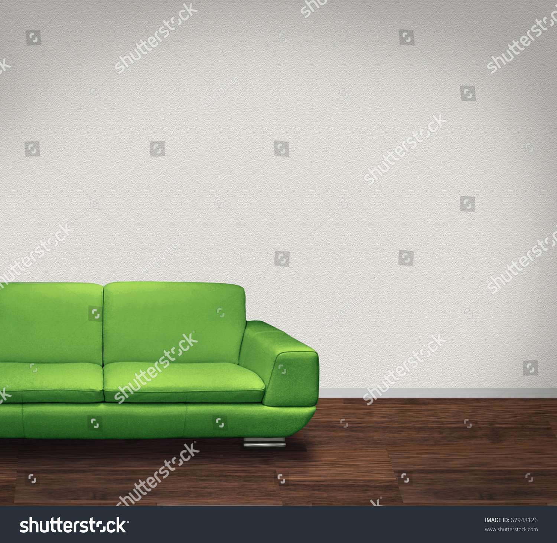 Modern Green Leather Sofa Room Dark Stock Illustration