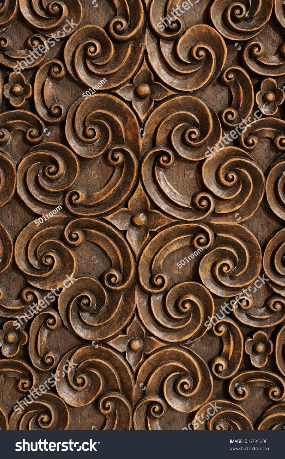 Royalty free wood thai pattern handmade wood carvings