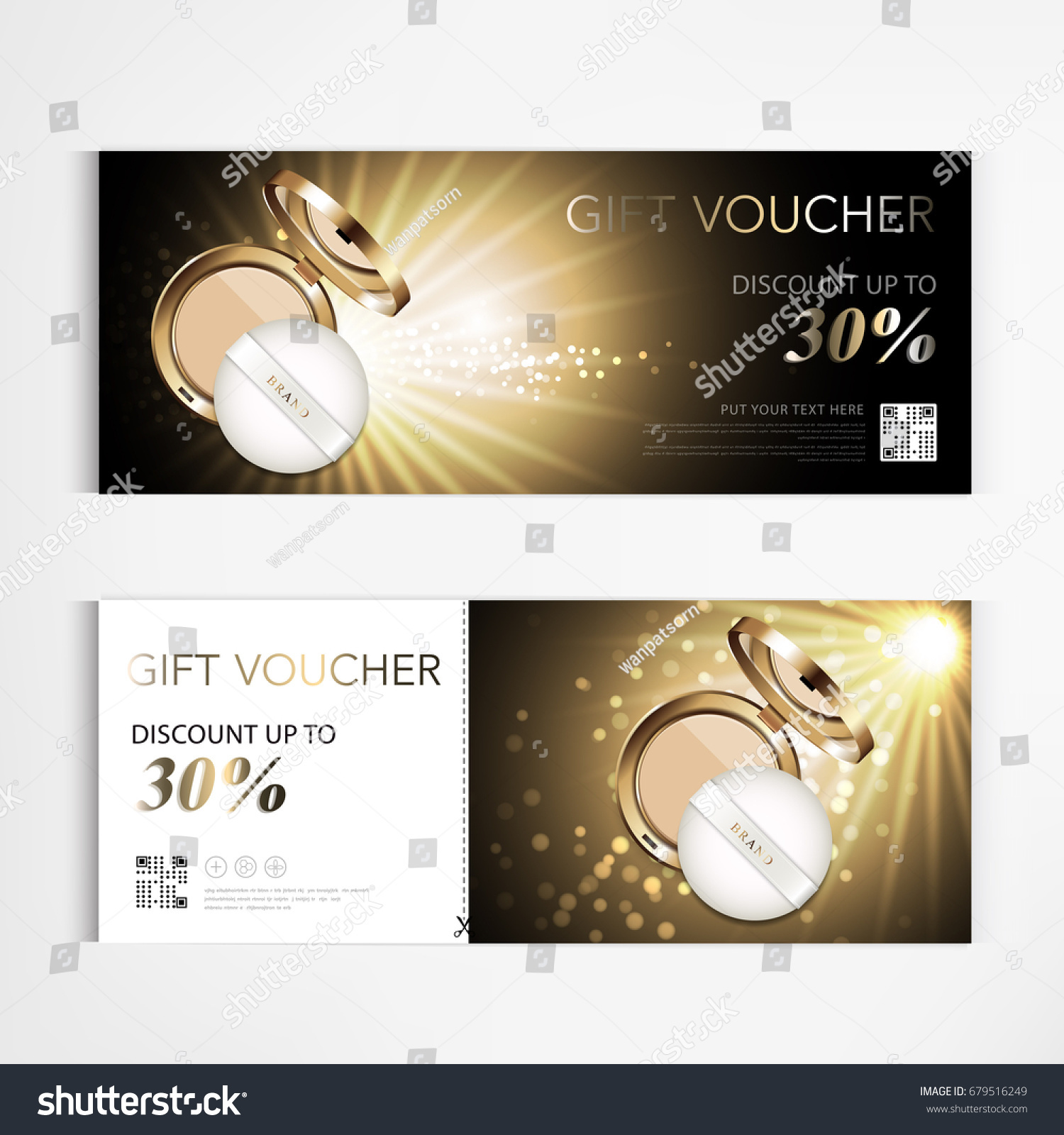 Gift Voucher Cosmetics Luxury Make Up Powder For Annual Sale Blue Packaging Template Vector Design