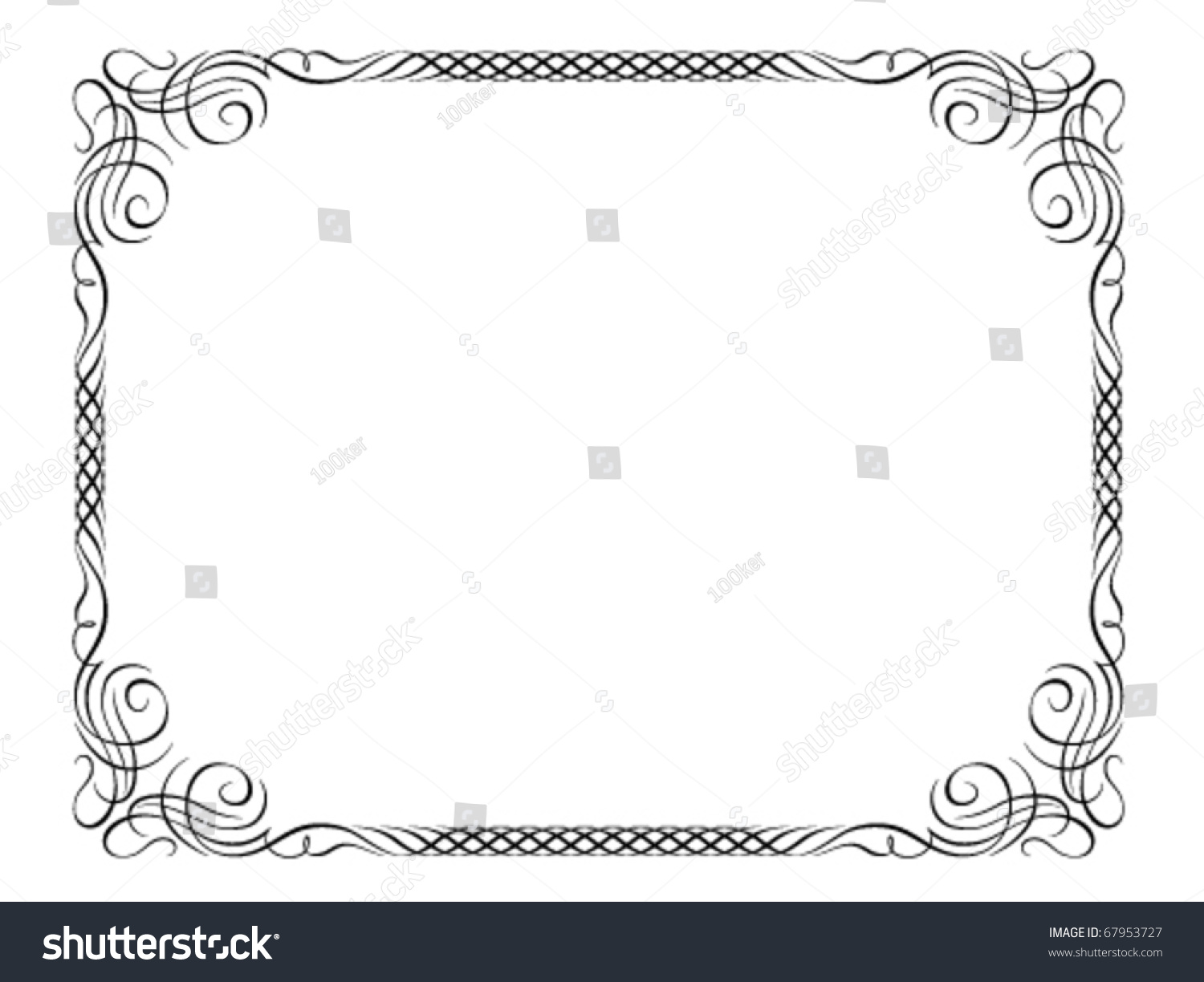 vector calligraphy ornamental penmanship decorative frame not trace use it by part