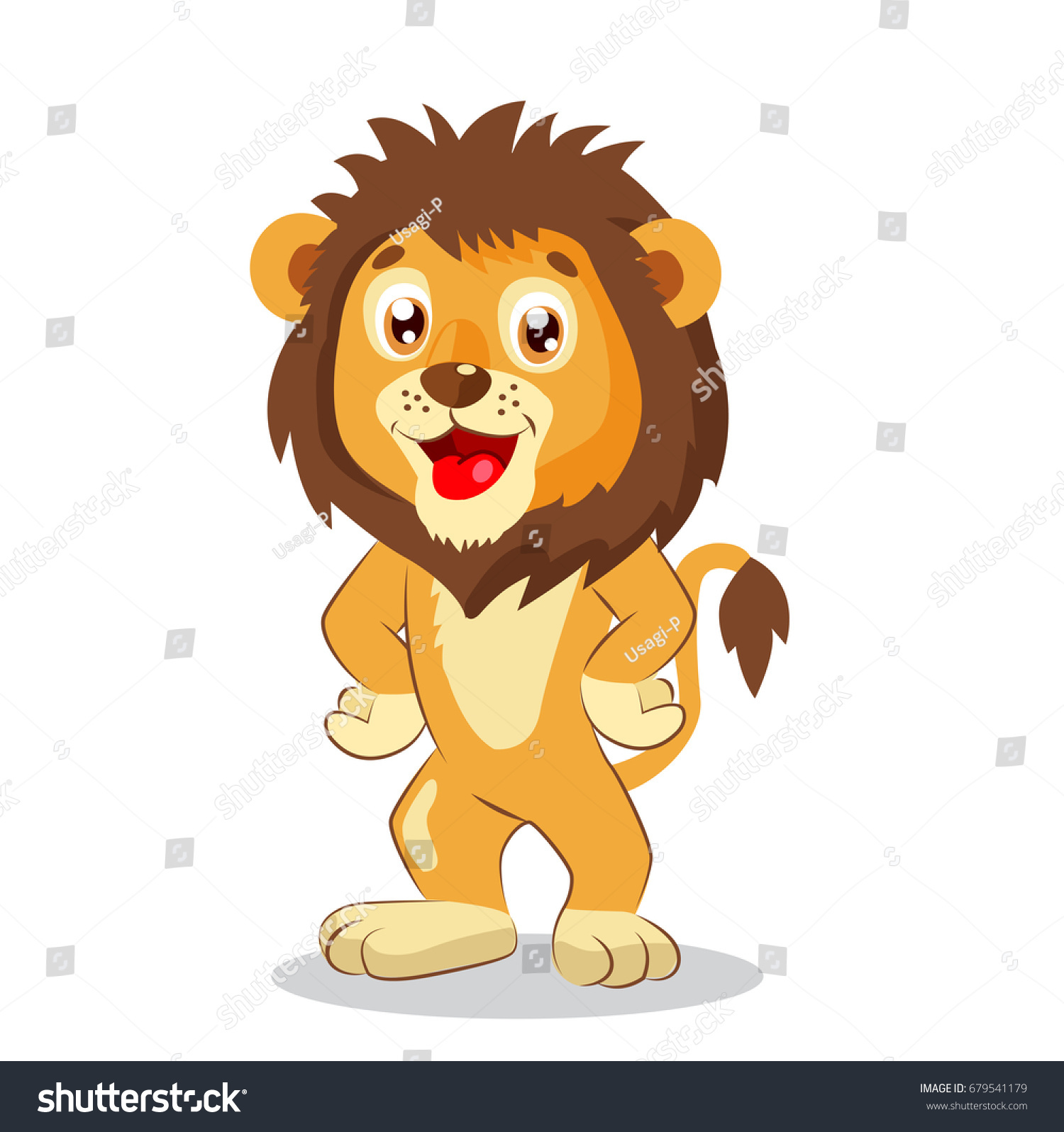 happy leo cartoon lion vector cute stock vector 679541179