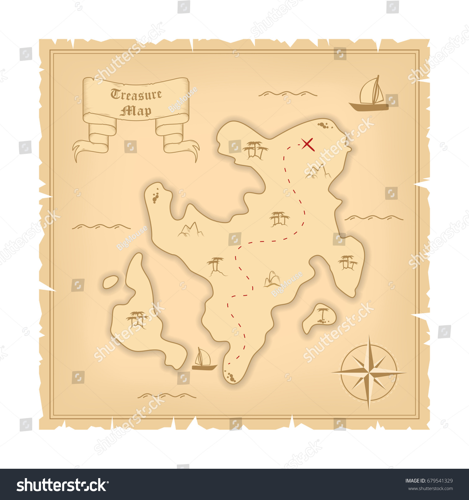Vector Template Pirate Old Treasure Map Stock Vector Royalty Free