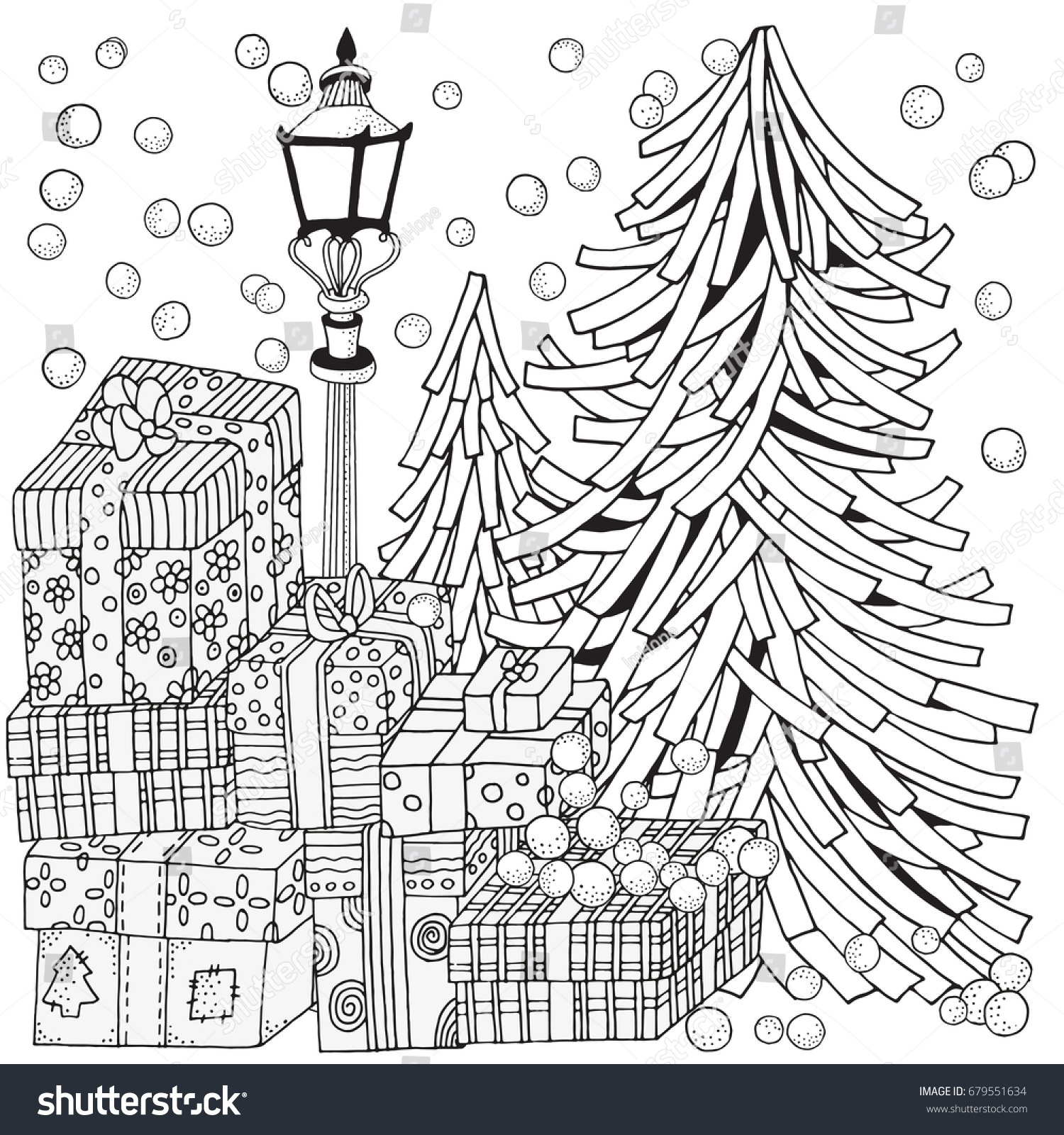 Winter Adult Coloring Book Page Lantern Stock Vector