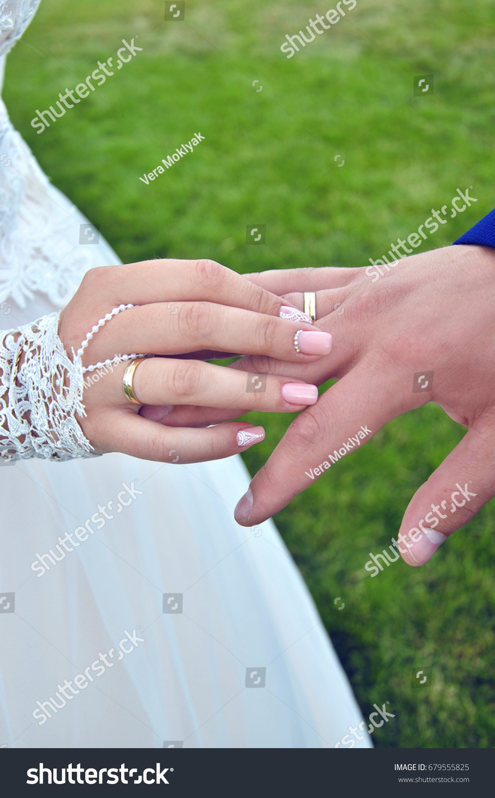 Happy Wedding Day Newlyweds Exchanged Rings Stock Photo (Royalty ...