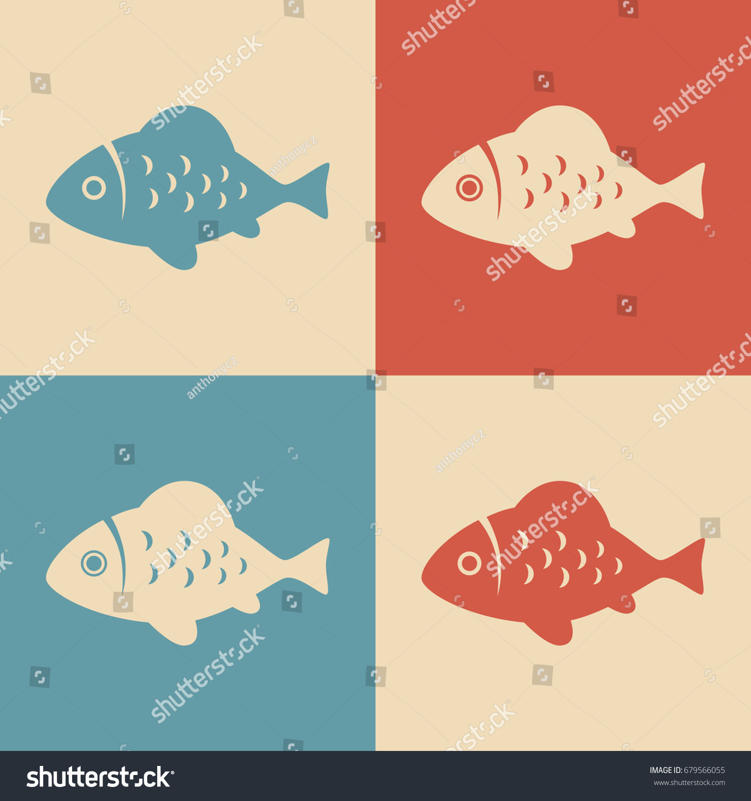 Fish Vector Icon Retro Colors Stock Vector 679566055 - Shutterstock