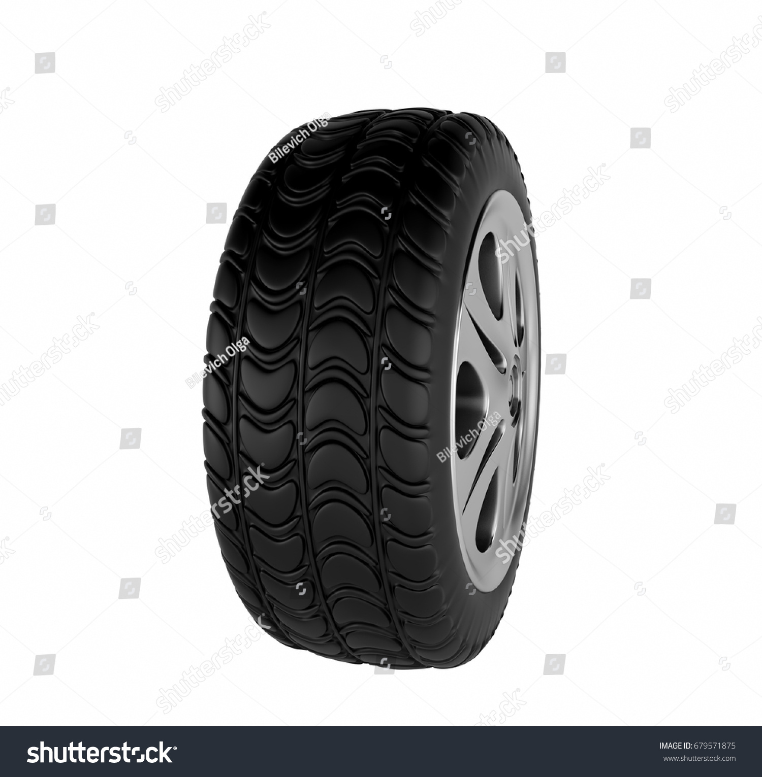 car wheel isolated on white background 3d rendering