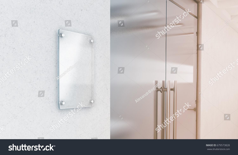 Blank Vertical Transparent Glass Sign Plate Stock Illustration