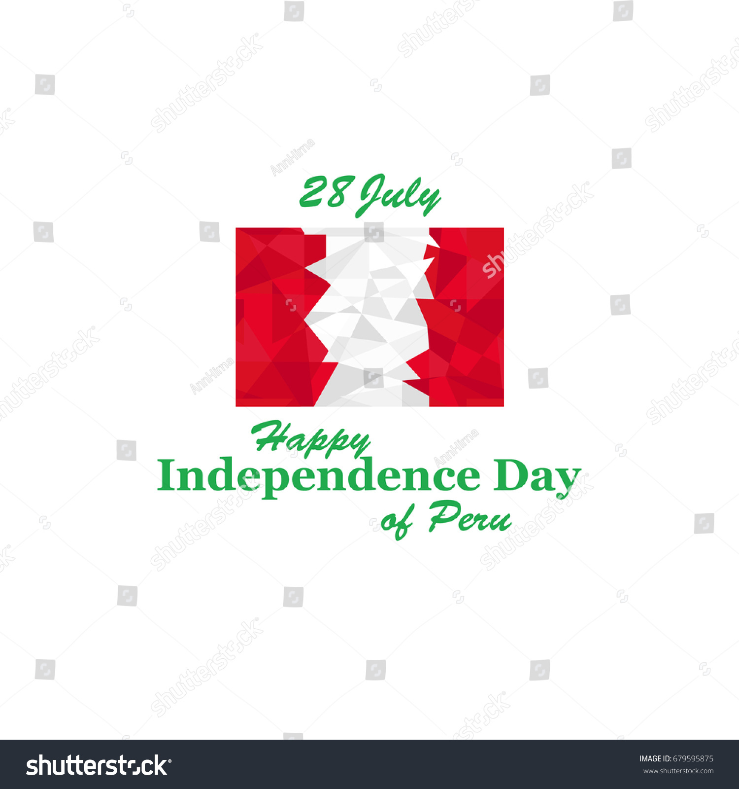 Greeting Card National Holiday Peru Independence Stock Vector ...