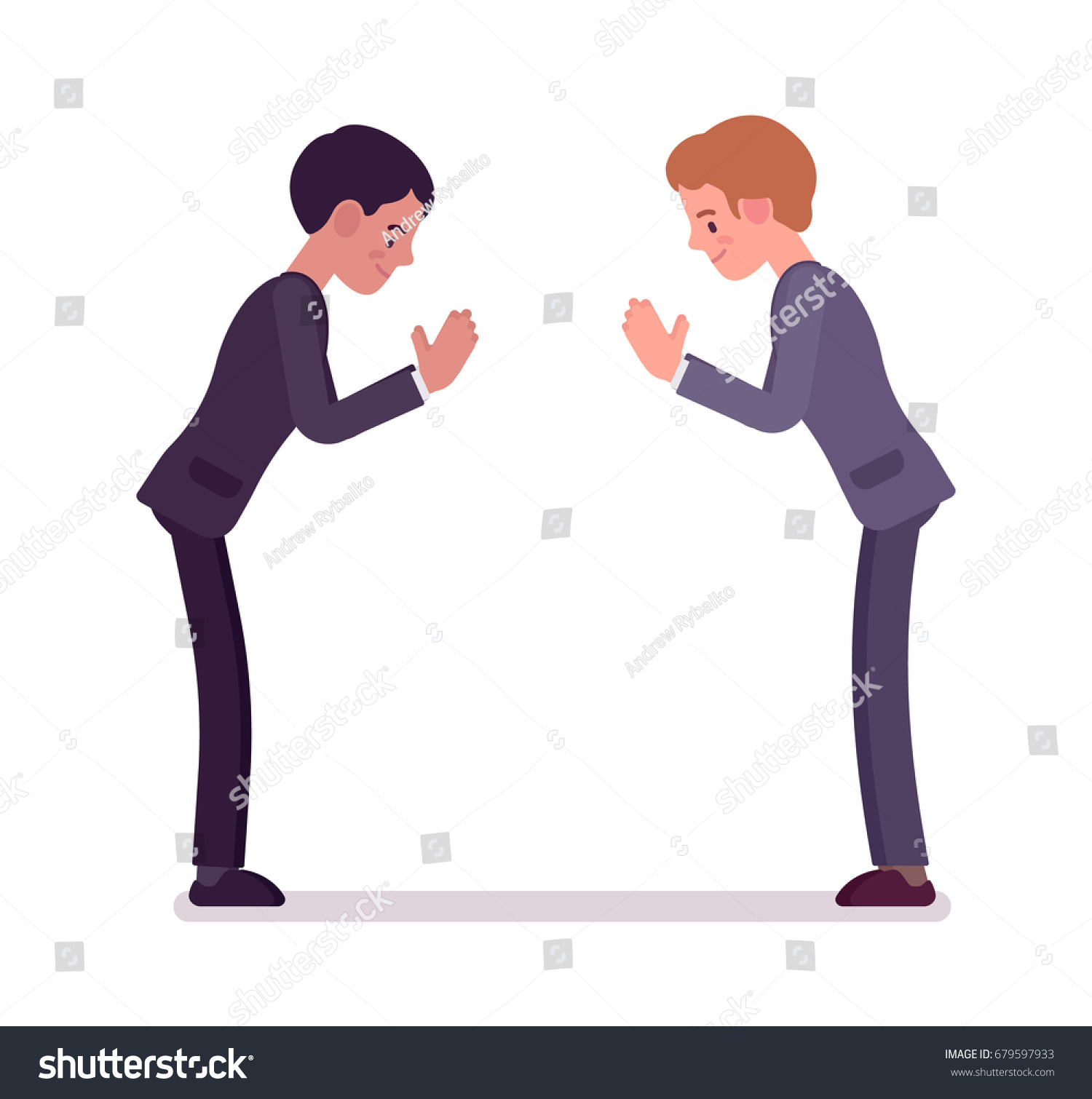 Business Partners Giving Bow Men Formal Stock Vector Royalty Free