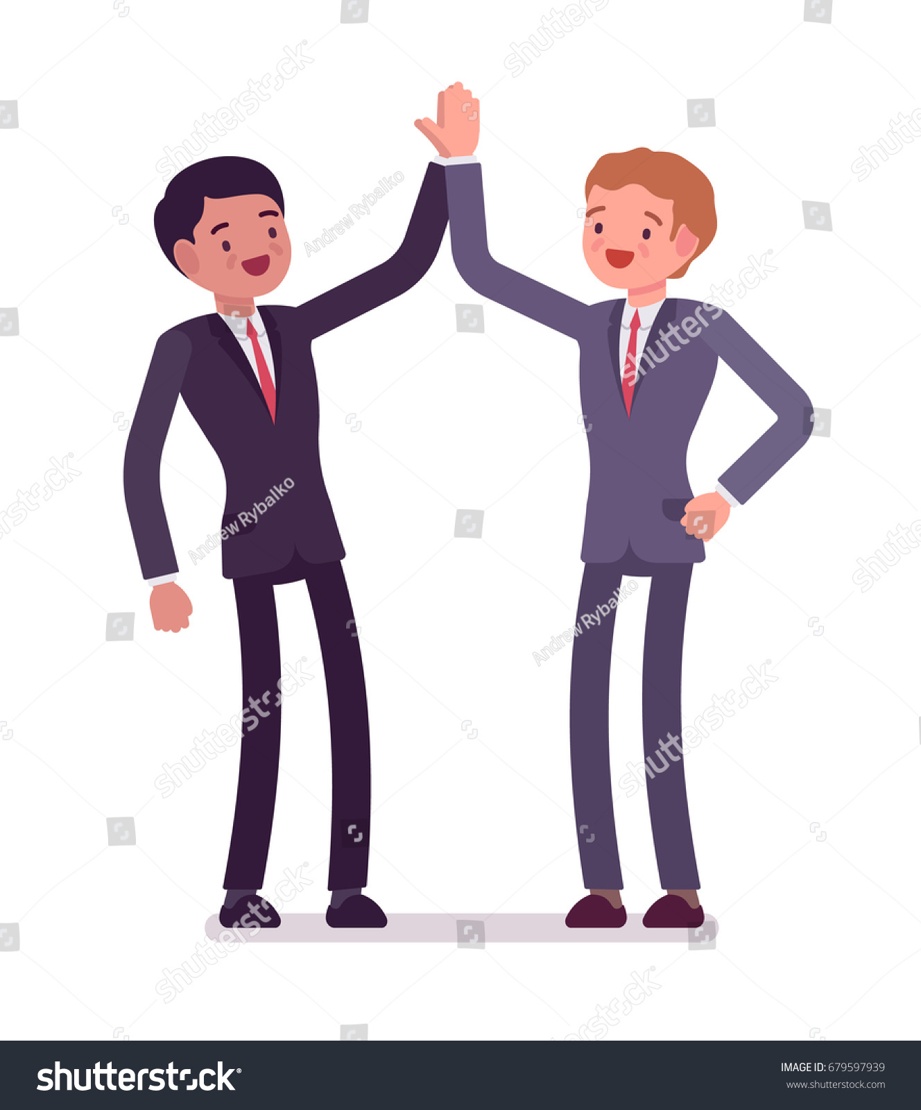 Business partners giving high five men stock vector royalty free business partners giving high five men hearty greeting each other celebrate victory mutual m4hsunfo