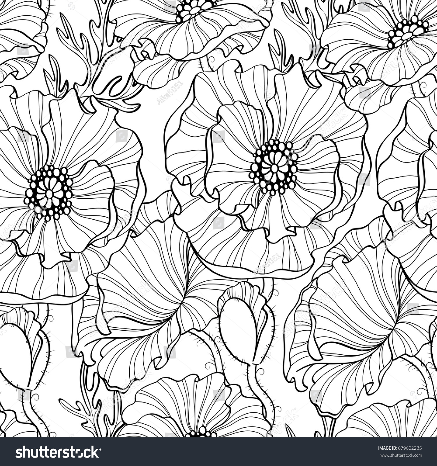 Seamless Pattern Poppy Flowers Floral Background Stock Vector ...
