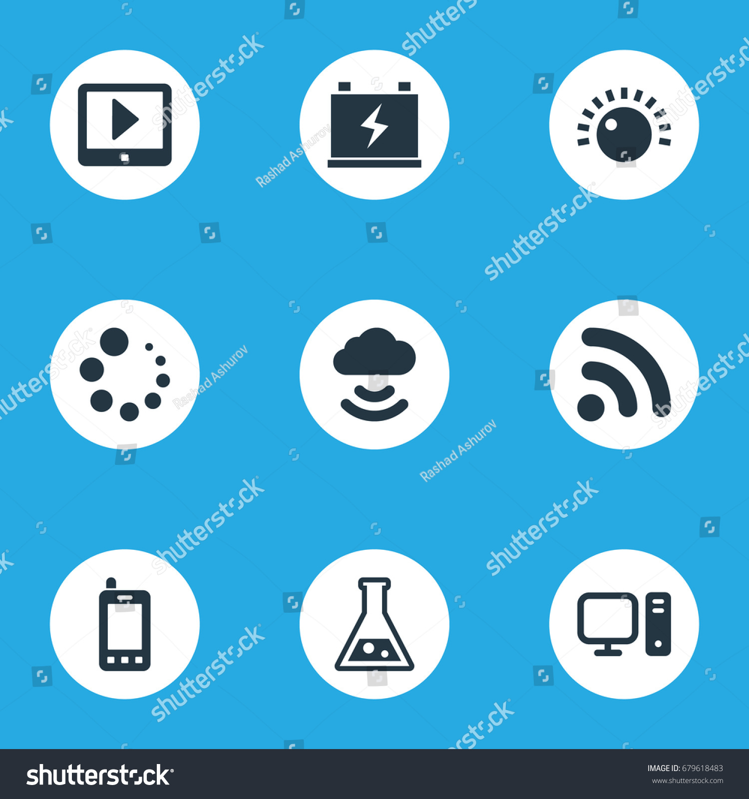 Vector Illustration Set Simple Technology Icons Stock Vector