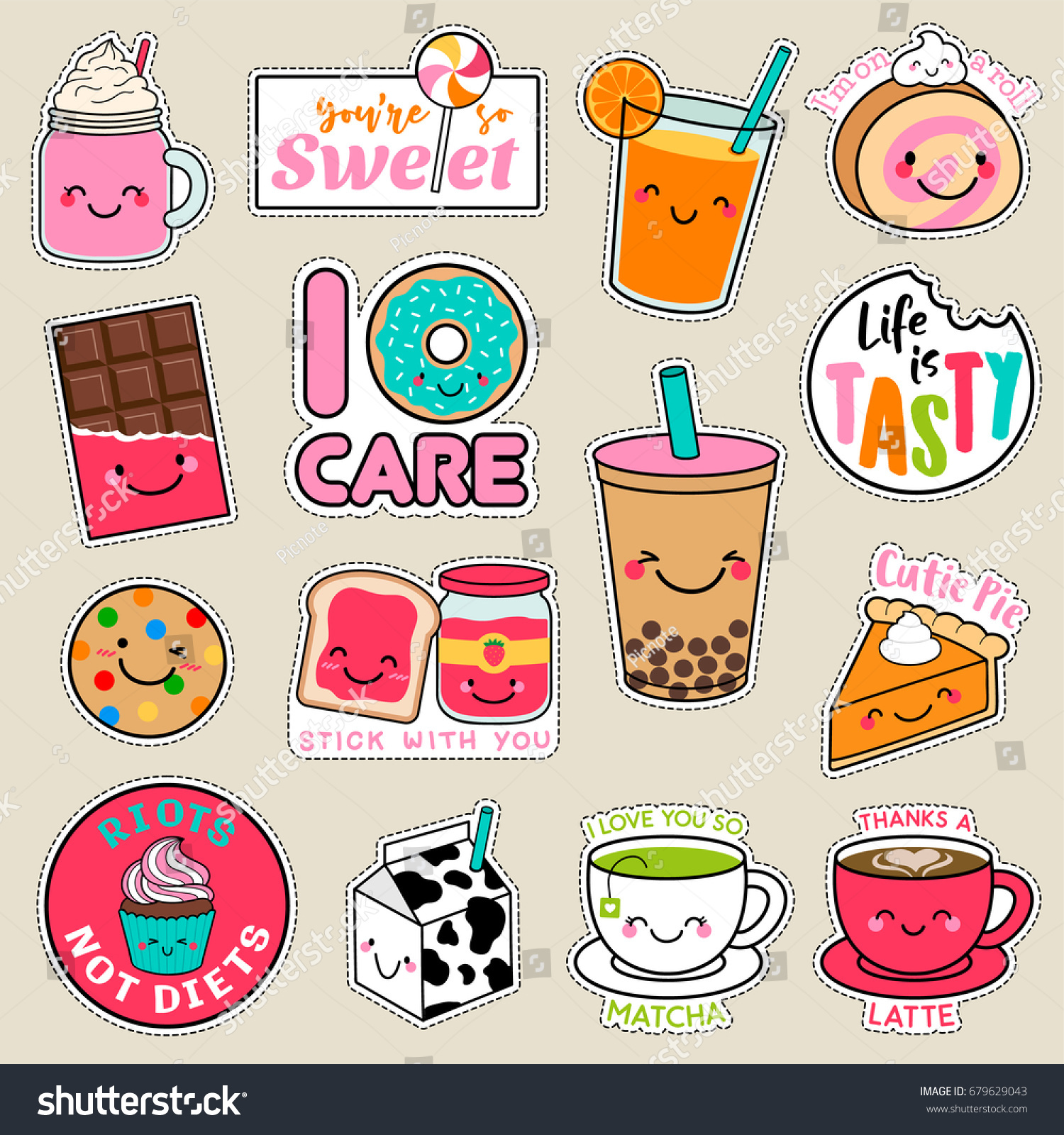 Set of fashion patches cute colorful badges fun cartoon icons design vector in dessert