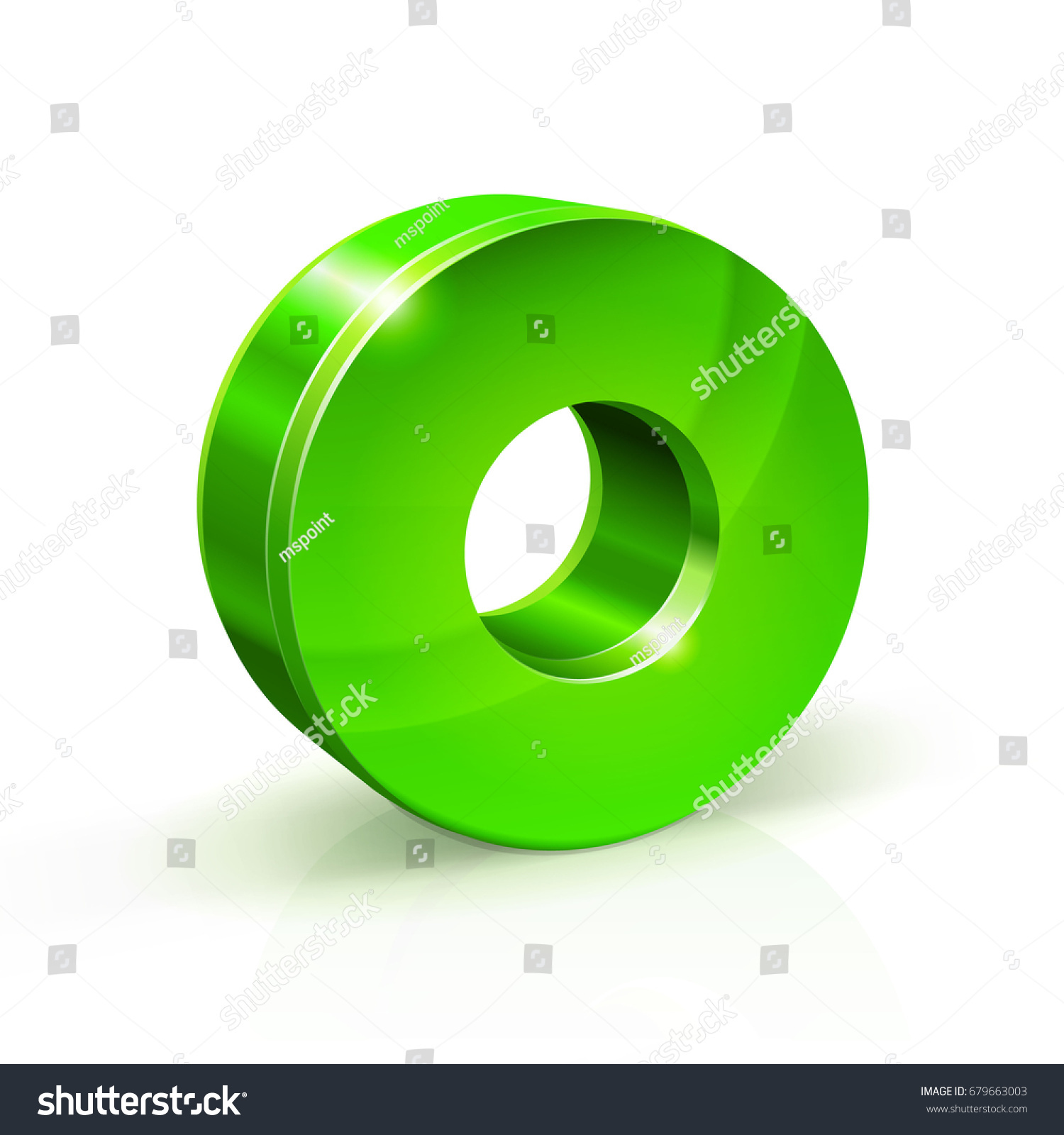 Glossy Green Zero 0 Number 3d Stock Vector HD (Royalty Free ...