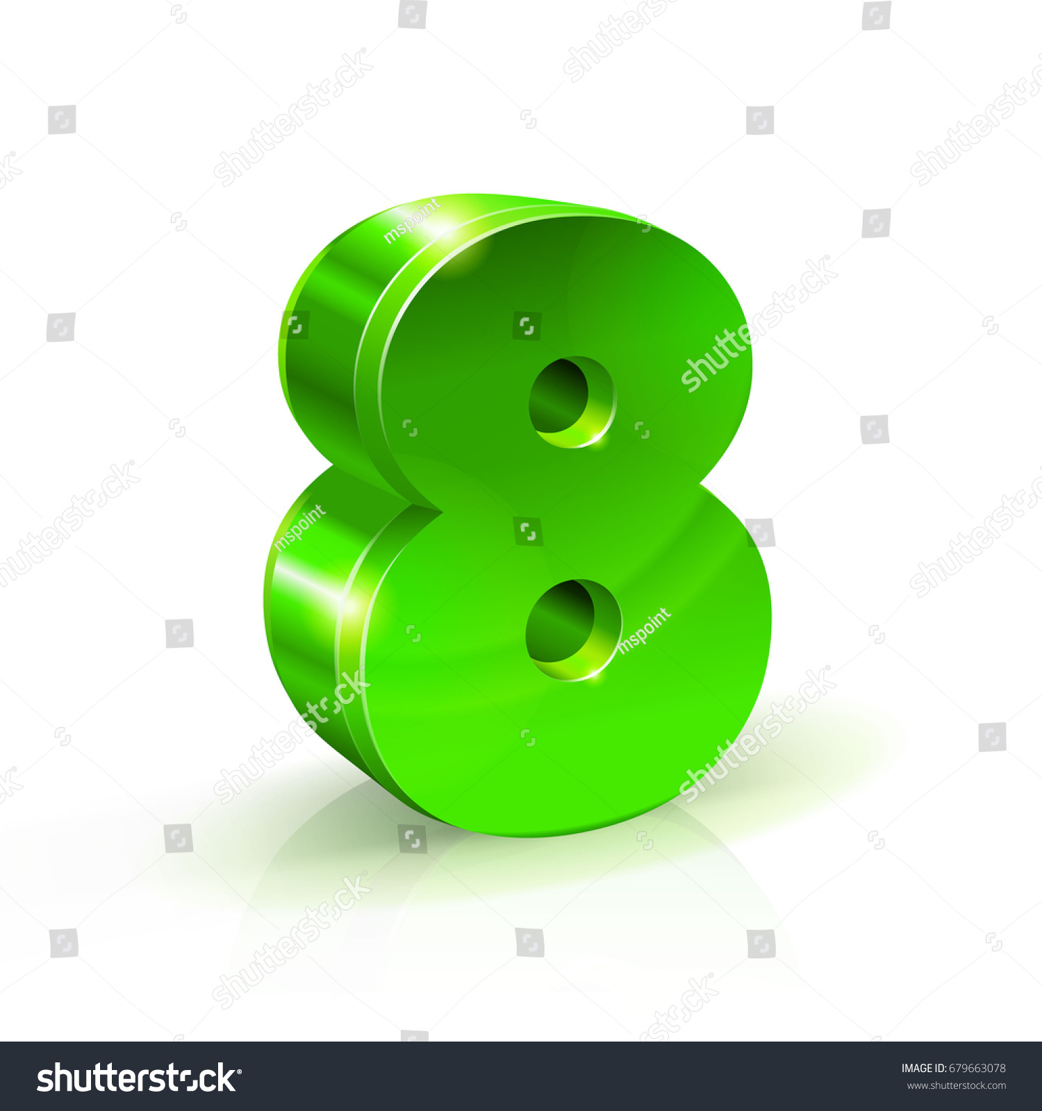 Glossy Green Eight 8 Number 3d Stock Vector 679663078 - Shutterstock