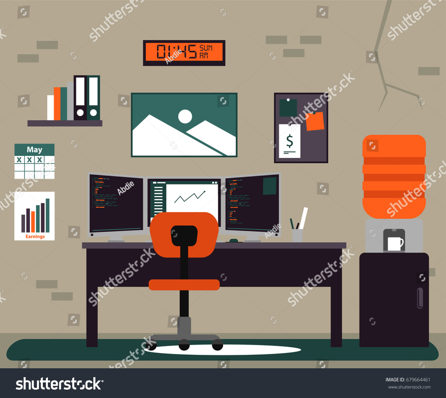color scheme for office. Programmer Flat Workspace Office Illustration With Multiple Monitor In Unique Color Scheme For E
