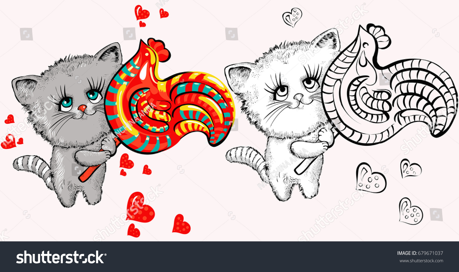 Beautiful Cute Little Kitten Lollipop Childrens Stock Vector ...