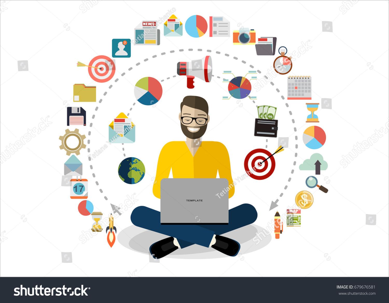 Vetor Stock De Digital Marketing Specialist Practicing Yoga Livre De Direitos 679676581