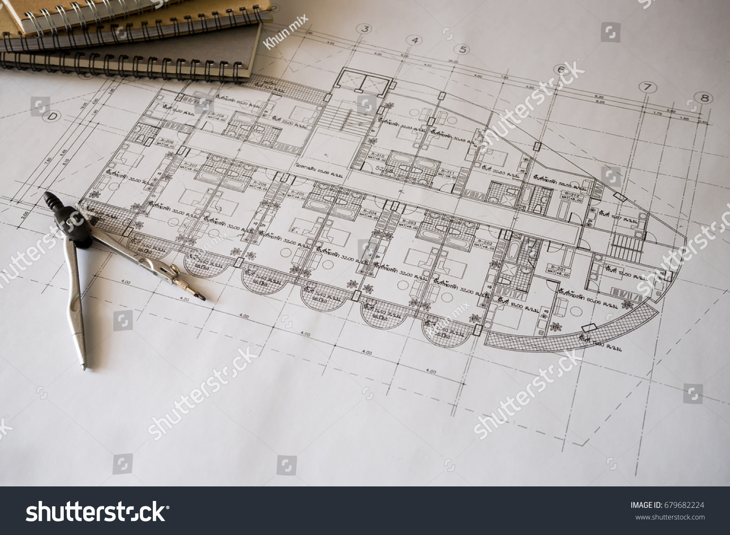 Workplace Architect Notepad Home Office Top Stock Photo (Safe to Use ...