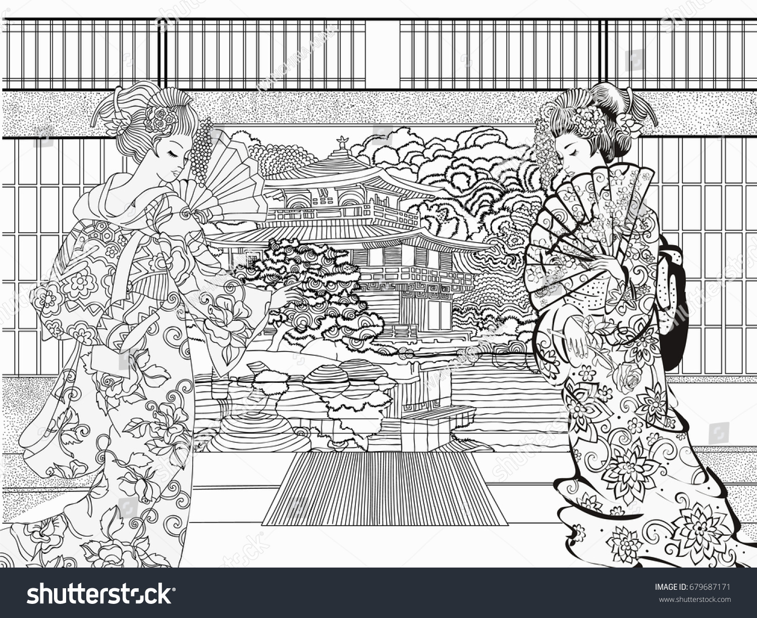 Beautiful Japanese Coloring Adults Coloring Pages Stock Vector