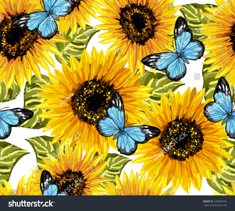 Beautiful Seamless Pattern Sunflowers Blue Butterflies ...