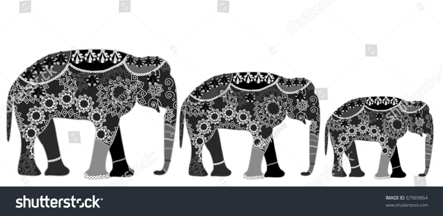 Family elephants ethnic style white background stock vector family of elephants in ethnic style with a white background a very good symbol of biocorpaavc