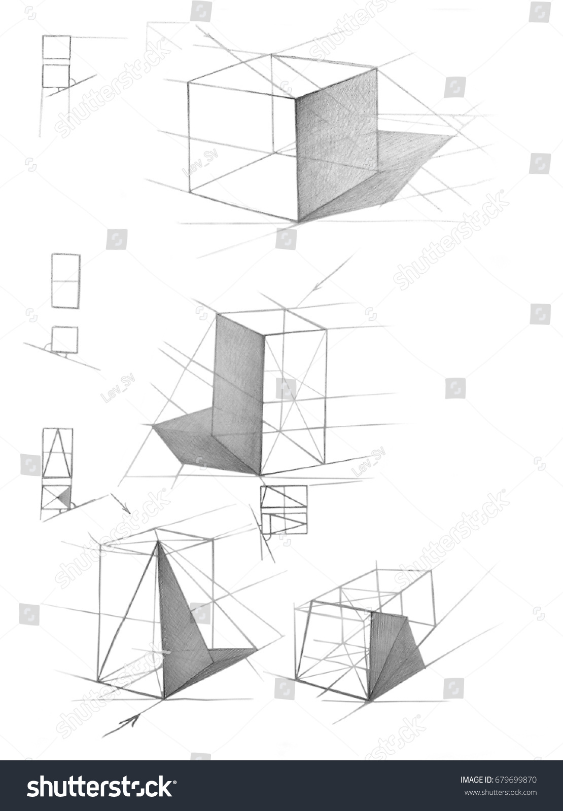 Sketch composition of geometric figures in pencil