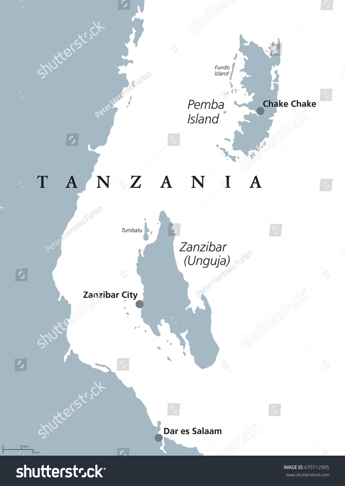 Zanzibar Pemba Island Political Map Semiautonomous Stock Photo