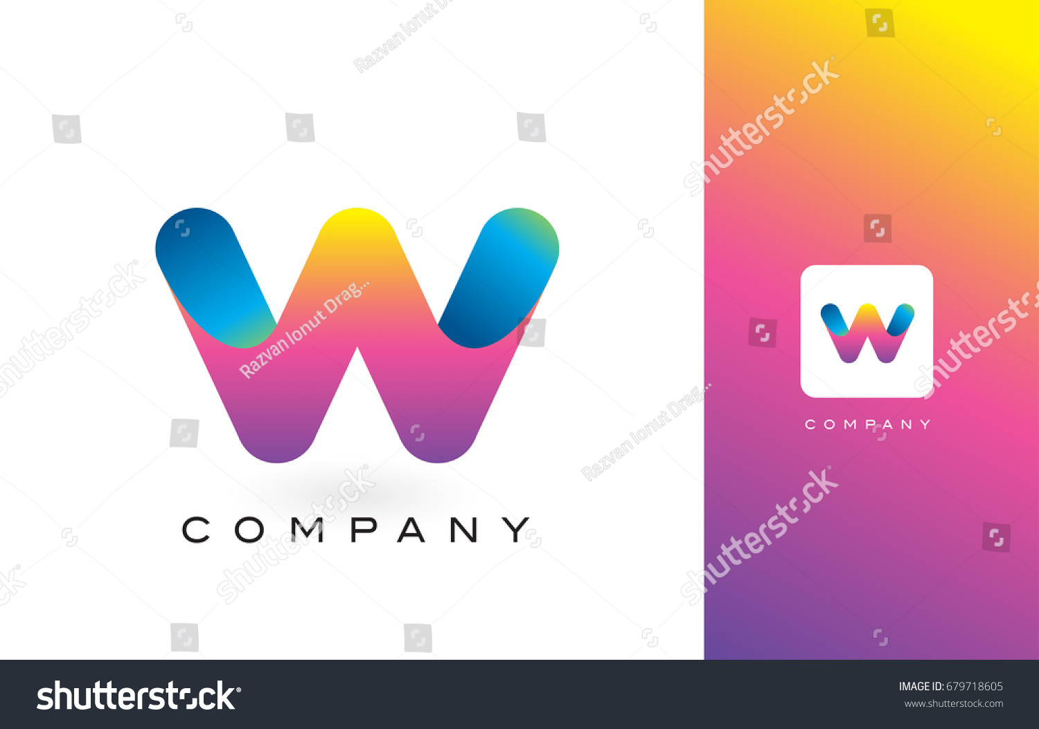 W Logo Letter Rainbow Vibrant Colors W Stock Vector (Royalty Free ...
