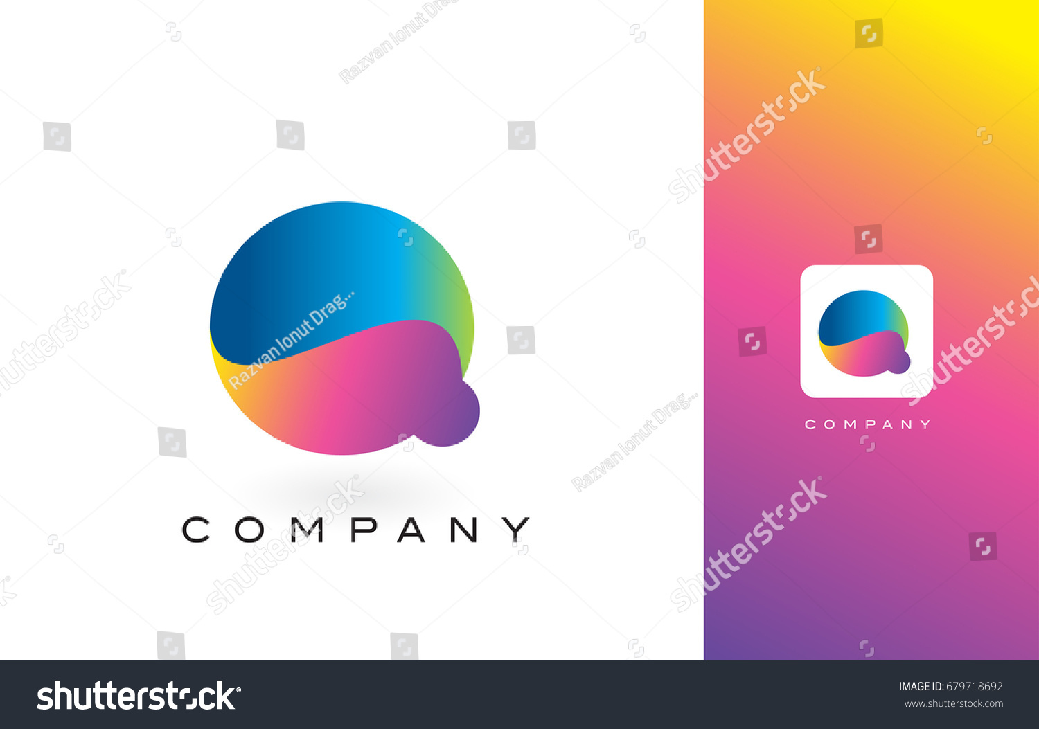 Q Logo Letter With Rainbow Vibrant Colors.Q Colorful Modern Trendy Purple  and Magenta Letters