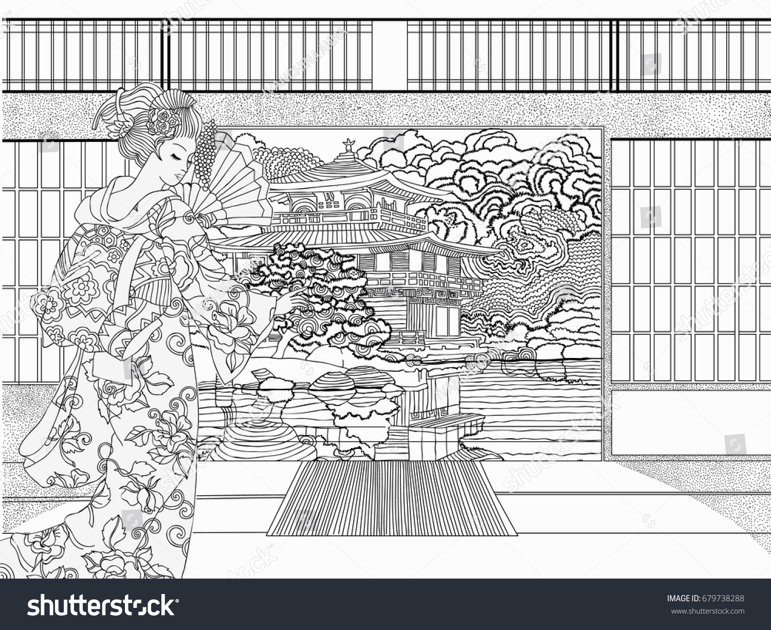 Beautiful Japanese Coloring For Adults Pages Vector Illustration