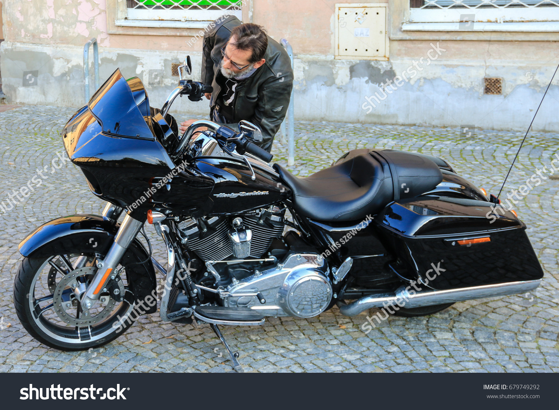 One Man Checking Carefully Black Harley Stock Photo 679749292 ...