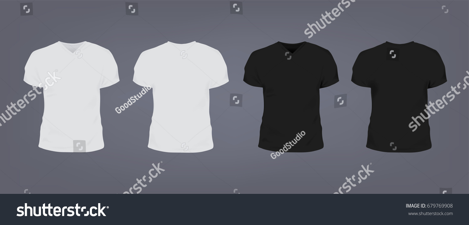 2acdb896f ... Vectors; Illustrations; Editorial; Footage; Music. Set of realistic  white and black unisex slim-fit t-shirt with v-