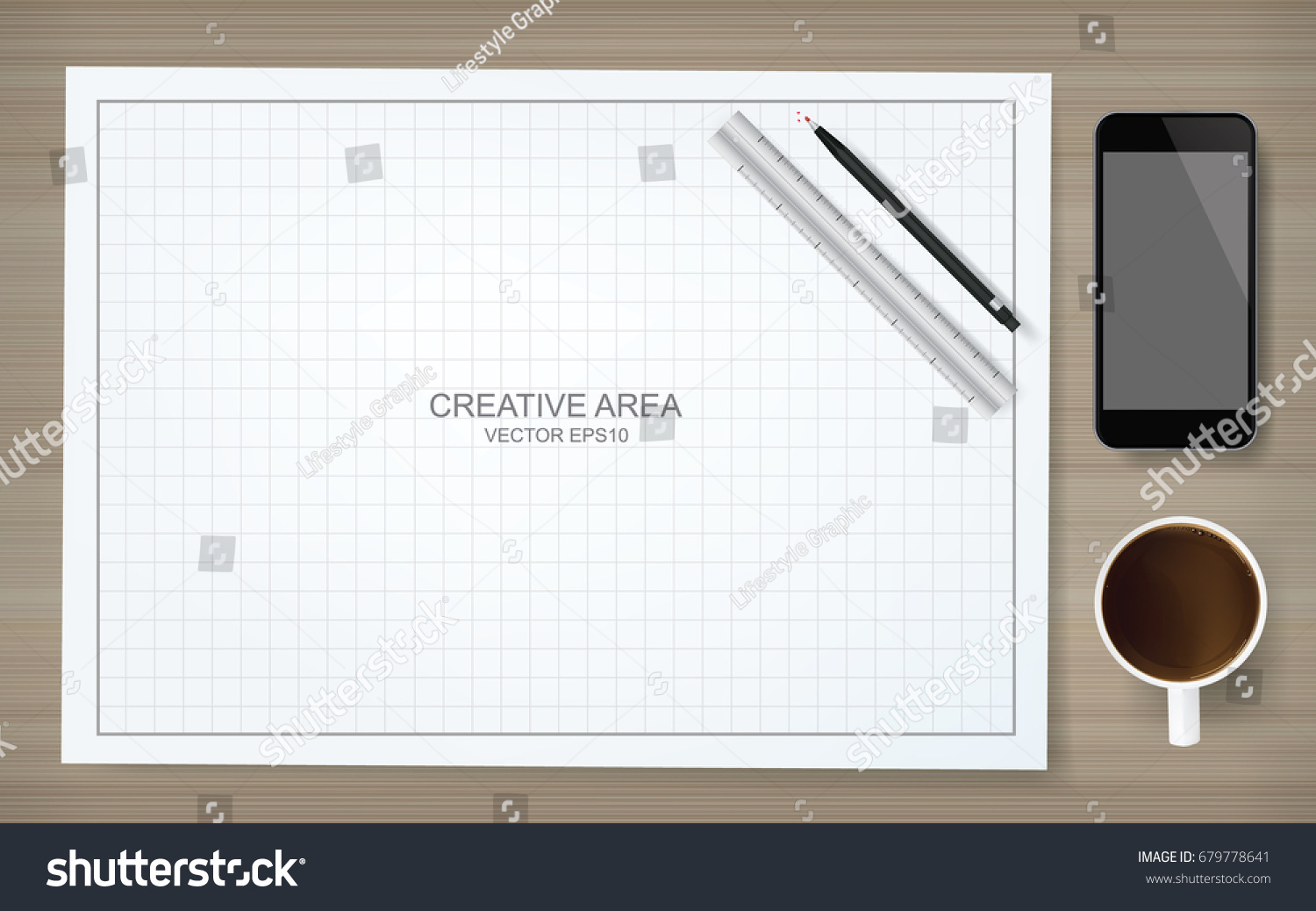 Construction background blueprint paper grid lines stock vector construction background of blueprint paper and grid lines with pencil ruler smartphone and coffee malvernweather Image collections