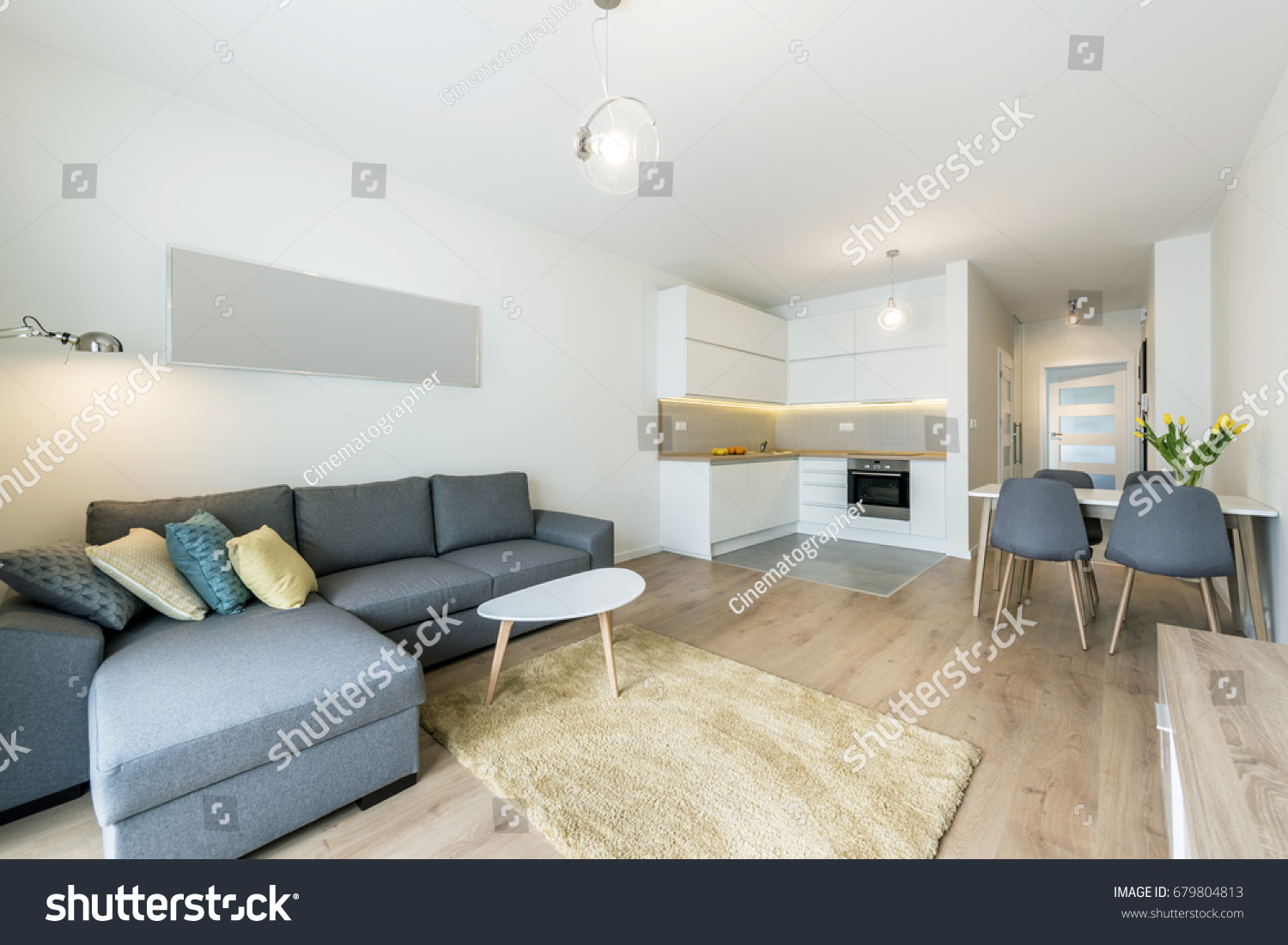 Modern living room and kitchen in small apartment #679804813