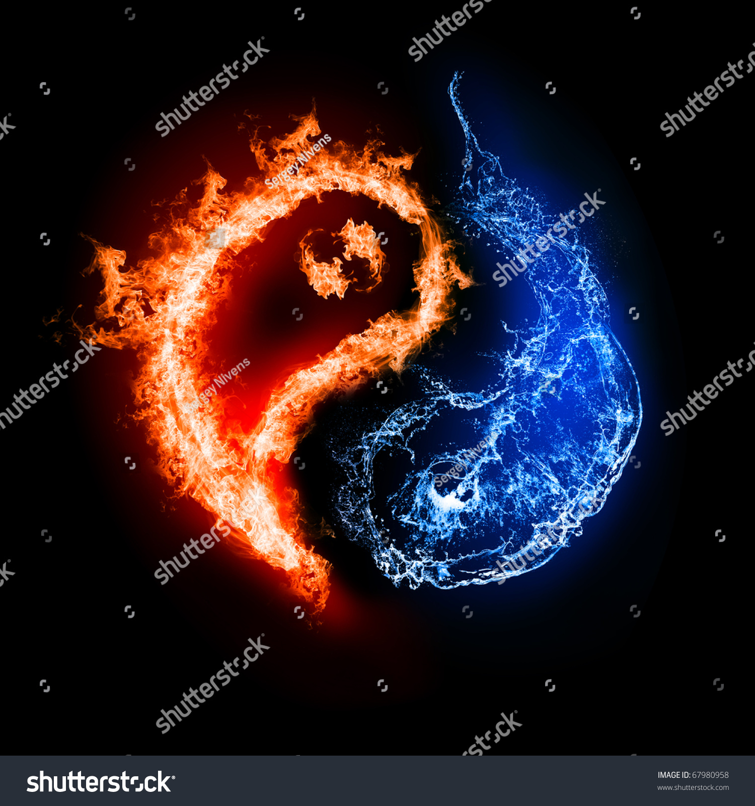 Symbol yin yang dark background form stock photo 67980958 symbol of yin and yang of the dark background in the form of fire and water biocorpaavc Choice Image