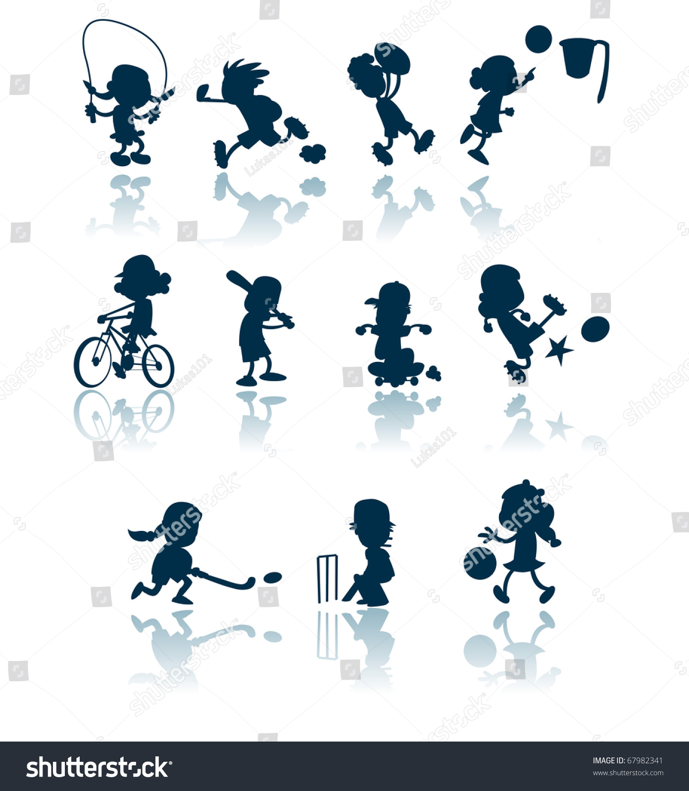 collection silhouettes cutouts children engaged various stock