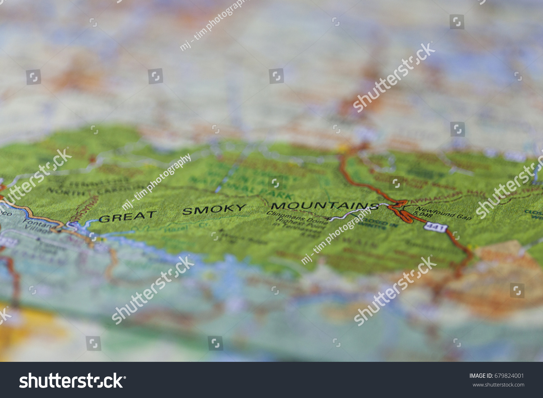 Roadmap Great Smoky Mountains National Park Stock Photo 679824001