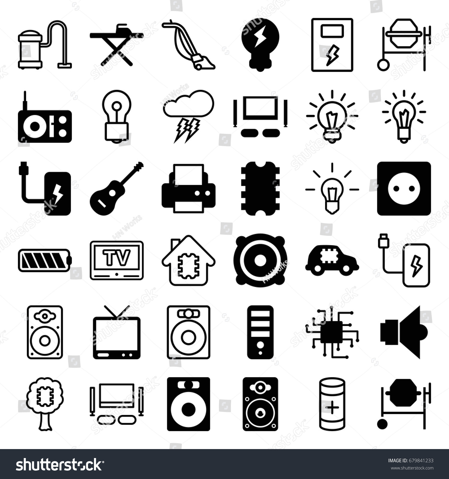 Electrical Icons Set Set 36 Electrical Stock Vector (2018) 679841233 ...