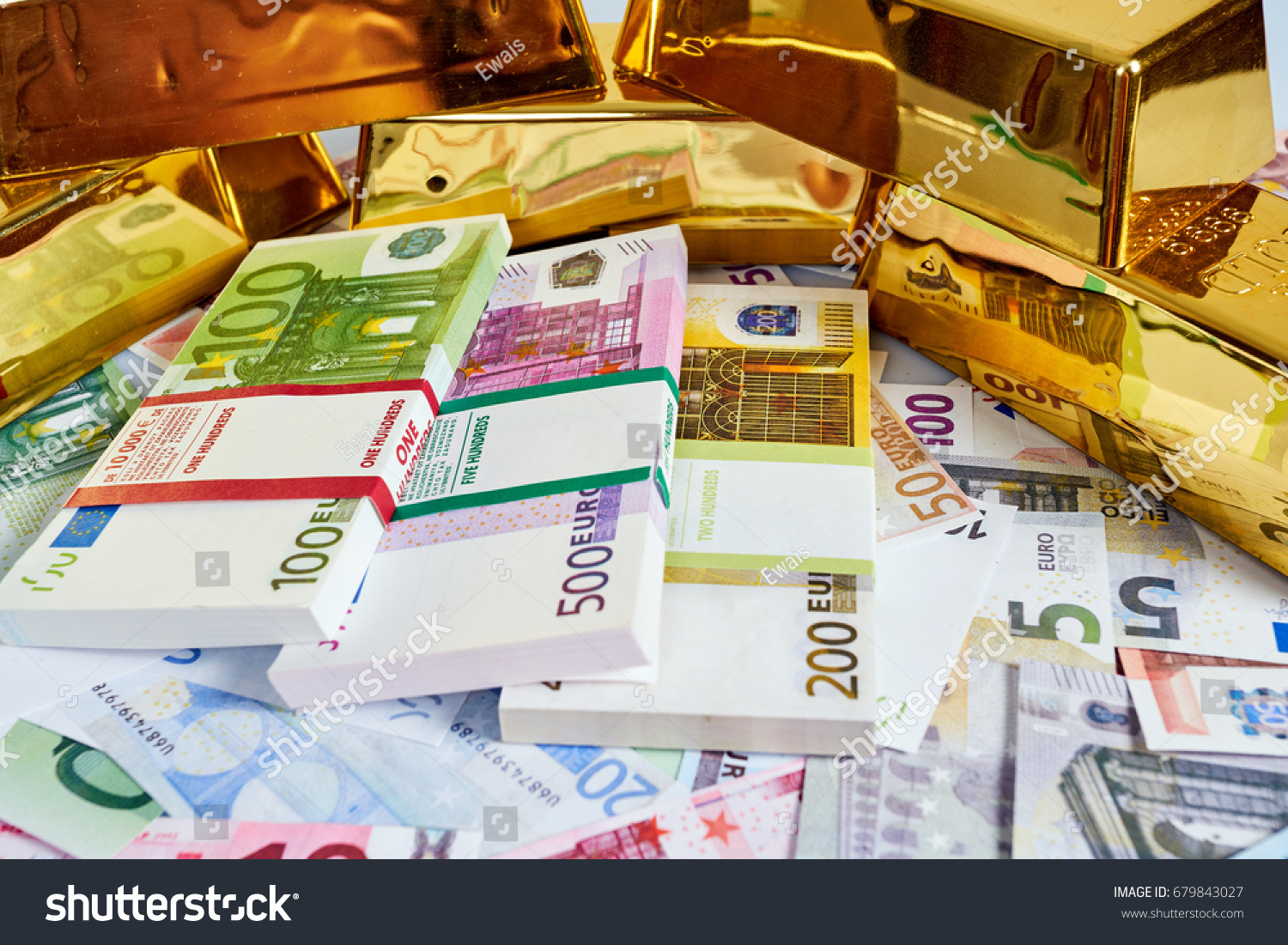 Gold Bar Concept Finance Background With Money Euro Cash