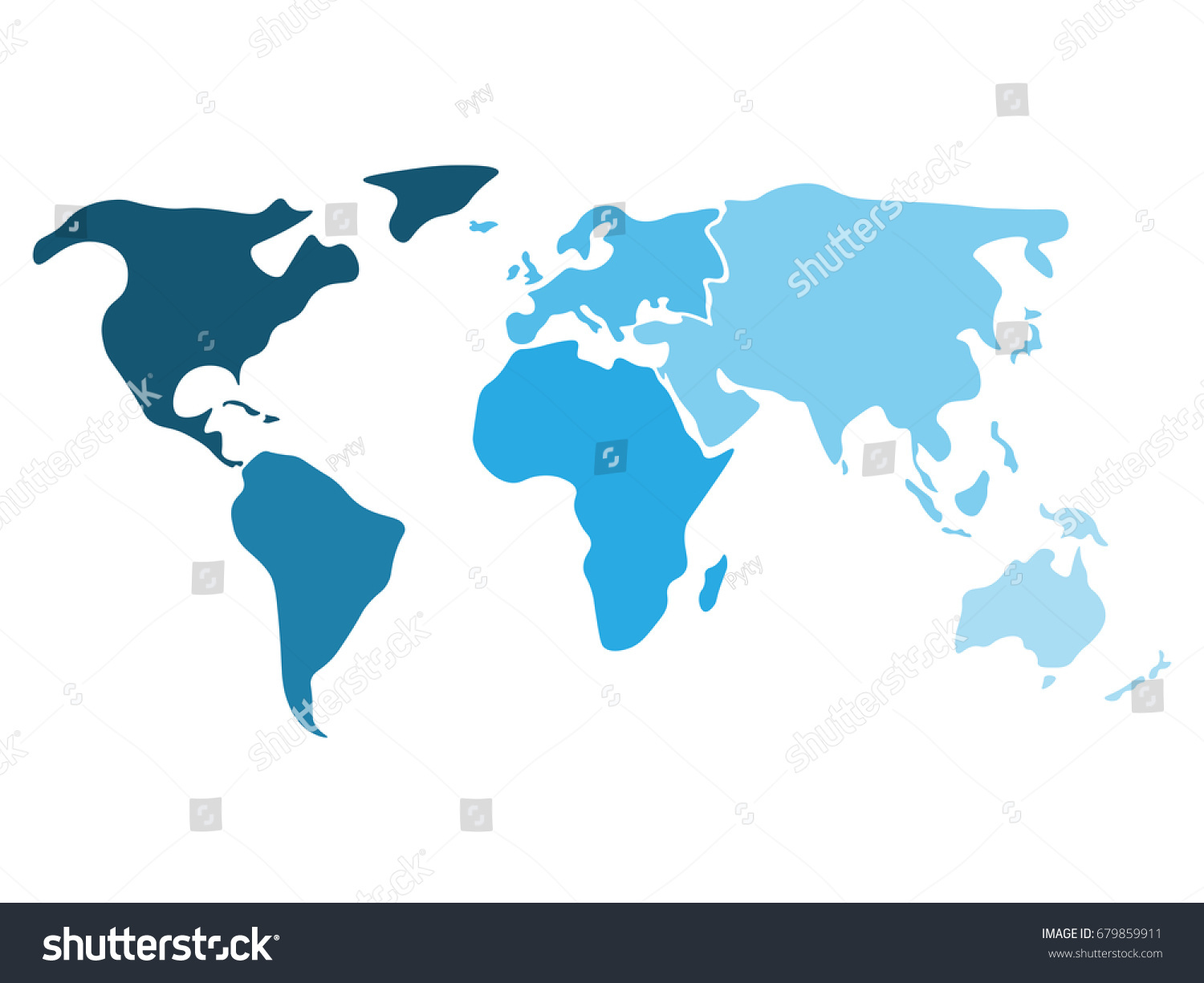 Multicolored world map divided six continents vectores en stock multicolored world map divided to six continents in different shaders of blue north america gumiabroncs Image collections