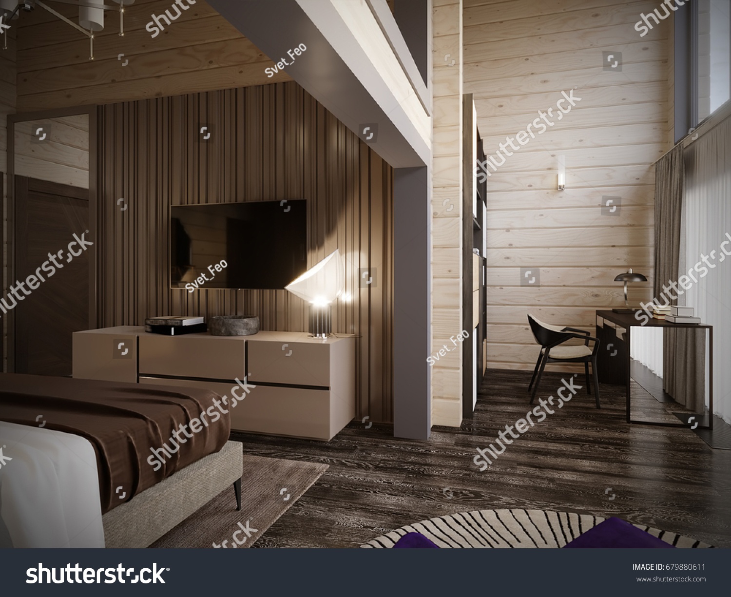 urban contemporary modern classic traditional hotel bedroom interior design in wooden house with blockhouse walls - Traditional Hotel Interior