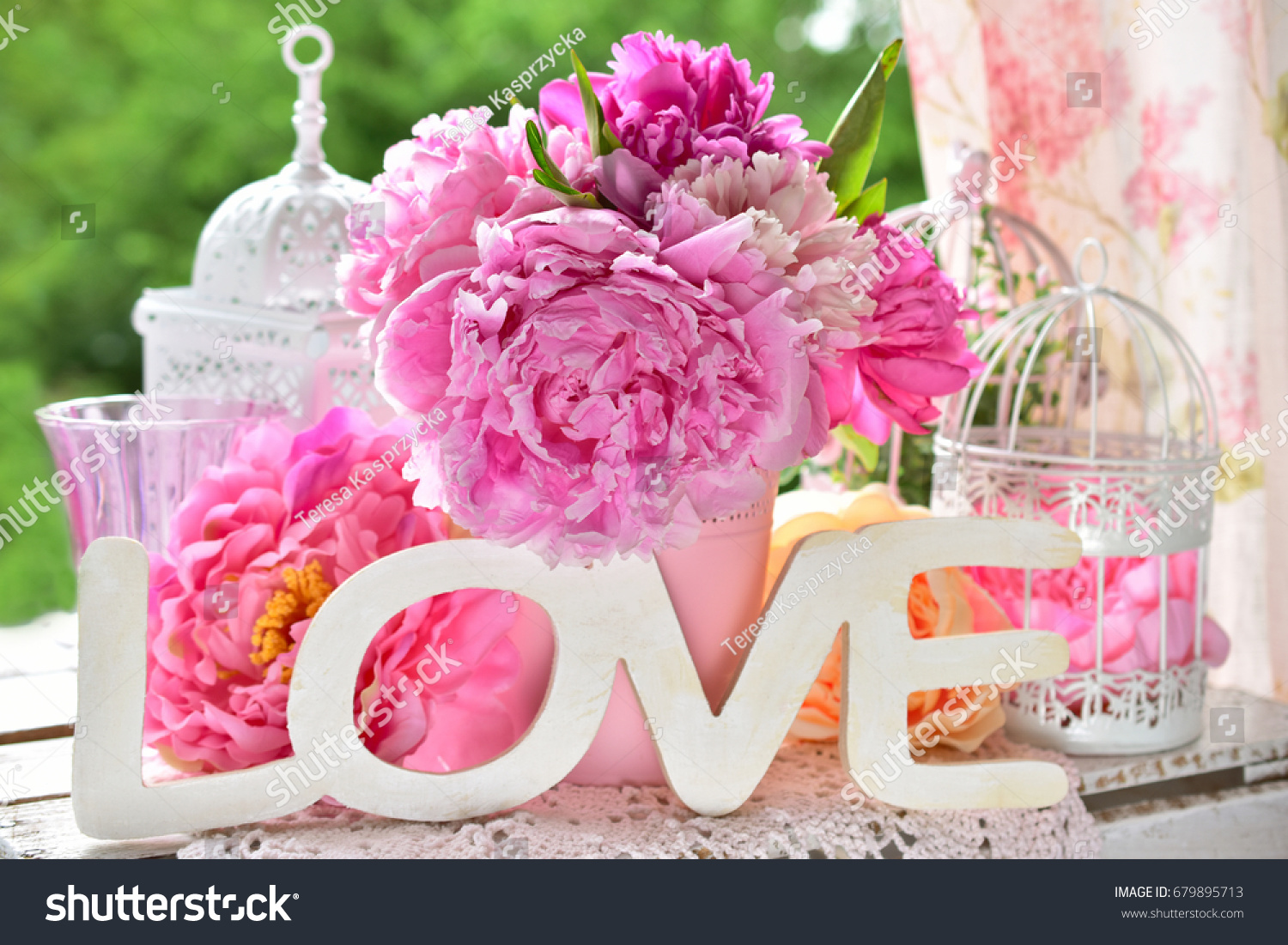 Beautiful love decoration wooden letters peony stock photo edit now beautiful love decoration with wooden letters and peony flowers on the table in the garden izmirmasajfo