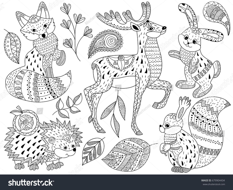 Fox Hedgehog Deer Coloring Pages