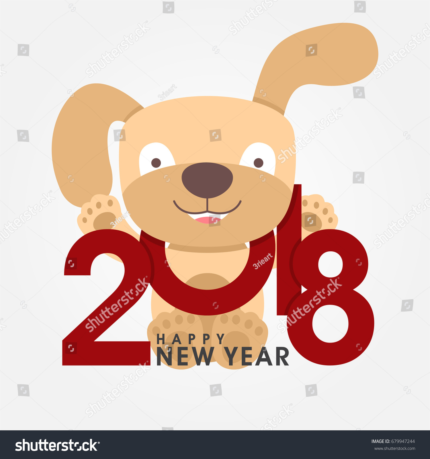 Happy 2018 new year greeting card stock vector royalty free happy 2018 new year greeting card chinese zodiac funny dog congratulates on holiday m4hsunfo