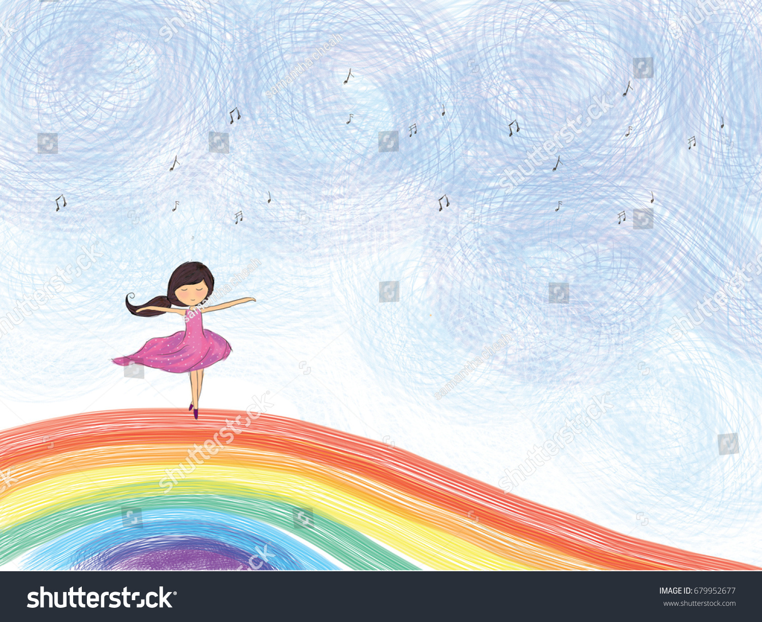 Graphic Illustration Drawing Ballerina Girl Dancing Stock