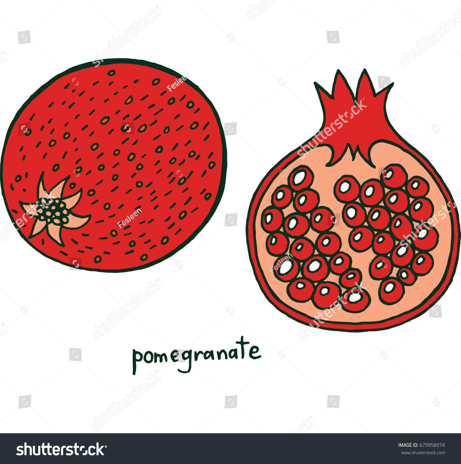 Pomegranate Fruit Coloring Page Graphic Raster Stock Illustration ...