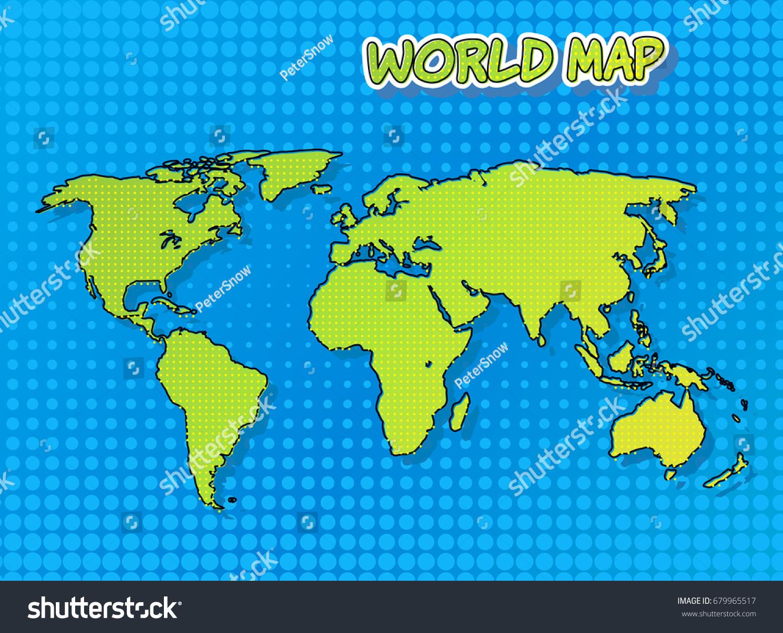 World map comic book pop art stock vector 679965517 shutterstock world map in comic book and pop art style with halftone technique vector art gumiabroncs Images
