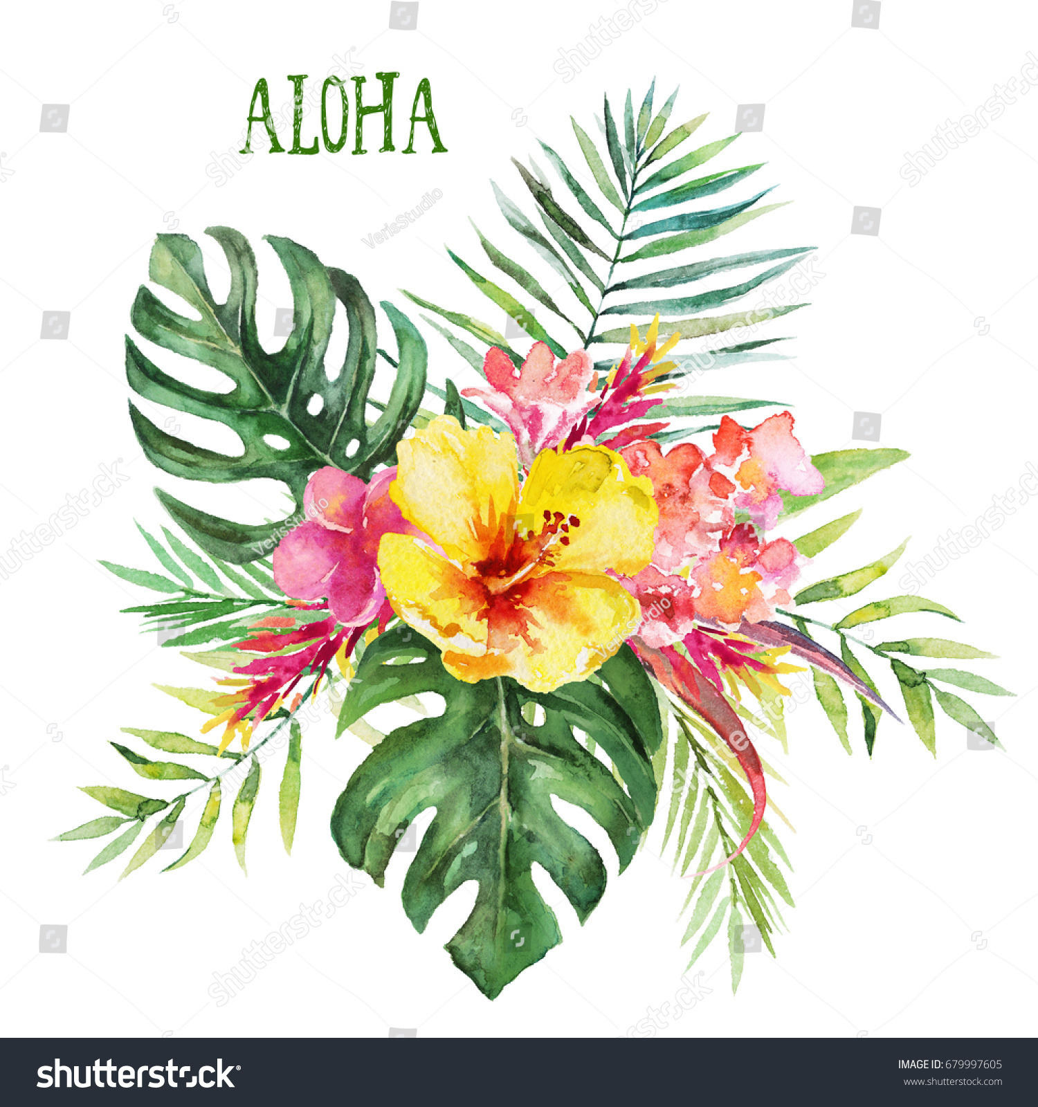 Watercolor floral flower illustration bouquet with tropical green id 679997605 izmirmasajfo
